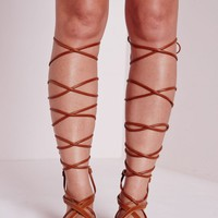 Missguided - Flat Lace Up Gladiator Sandals Tan