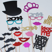 2014 New Years Party Photo Prop 25 piece set mustache on a stick DIY SET