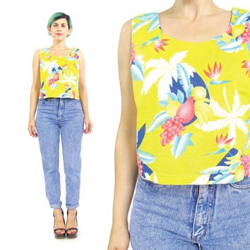 80s Hawaiian Crop Top Fruit Print Tropical Crop Top Bright Yellow Cotton Tank Top Sleeveless Blouse Womens Colorful Hawaiian Shirt  (S/M)