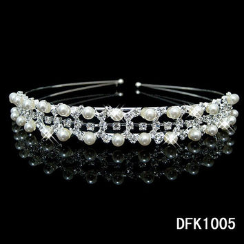 pearl crystal wedding princess tiara headband rhinestone pageant crowns for bride hair accessories