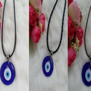 Hot Sell!New Fashion Hot 30mm Greek Round Blue Glass Evil Eye Pendants Charm Leather Necklace Choker Necklace DIY Jewelry 10pcs