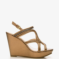 Metallic Faux Leather Wedge Sandals