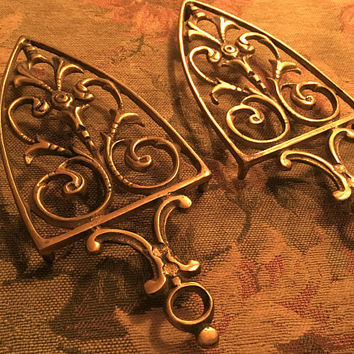 Set of Brass Trivets, Vintage Brass Trivels, Ornate Brass Trivet, Footed Trivet, Metal Trivet, Home Decor, Kitchen Accessory, Cooking Aid