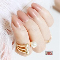 24pcs new fashion cute candy oval excellent touch design fake nails light brown P385X