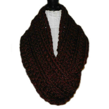 Infinity Scarf Cowl Extra Long Infiniti Scarf Chunky Crochet Wool in Dark Burgandy Claret