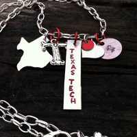 Texas Tech Red Raider Necklace - Hand Stamped - Wreck Em Tech Masked Rider - Lubbock