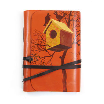 Leather Journal Lovebirds Orange Leather Journal, Notebook, Diary - Leather Cover Blank Journal with White Paper