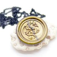 Customized Dragon Mythical Creatures Wax Seal Necklace - 26 Colors Available