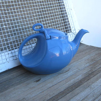Antique Hall China Blue Streamline Teapot - Untrimmed 1930s Dresden/Cadet Blue Teapot by Hall China - Dark Periwinkle Art Deco Teapot
