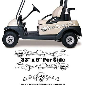 Skull Bones Skeleton Golf Cart Go Cart Decals Stickers Auto Truck Racing Graphics