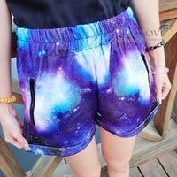 Tie-dye gradient star shorts