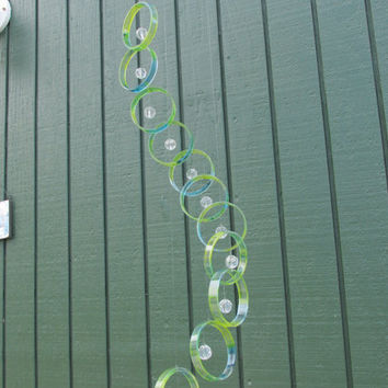 Recycled wine bottle wind chime, Juniper wood, Tie dye look, Blue and green, Beads, circle glass windchime
