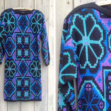 Vintage dress | 1980s Billy Jack geometric print sweater dress knit tunic
