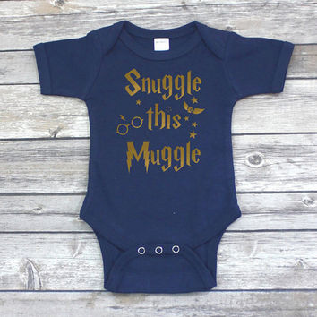 Snuggle This Muggle Harry Potter Onesuit - Harry Potter Baby Onesuit - Harry Potter Christmas Gift - Christmas Gift for Baby