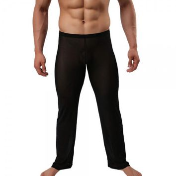 Sexy See-through Mesh Men's Long Pants Pyjama Trousers Black