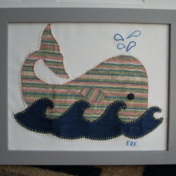 Striped Whale Wall Art