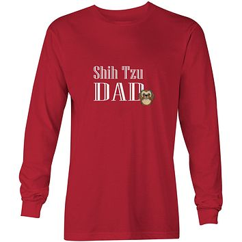 Chocolate Brown Shih Tzu Dad Long Sleeve Red Unisex Tshirt Adult Small BB5257-LS-RED-S