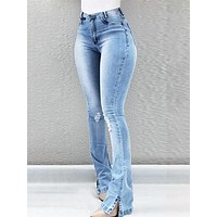 Women Light Blue High Waist Ripped Bell Bottom Denim Pants