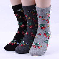 4pairs(4COLOR)=1pack STRAWBERRYS woman women s girl big kid s INTYPE socks[USFX]