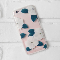 White and Green Floral iPhone Case