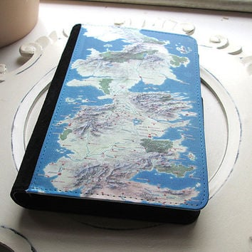 Game of Thrones Inspired land map travelers journal book notebook wallet holder