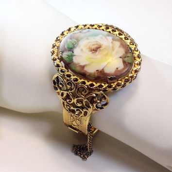Vintage Hinged Bracelet Cameo Style Floral (20% OFF with code HOLIDAYS)