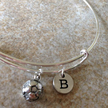 Alex and Ani Inspired 3-D Soccer Ball Charm Bangle, Bracelet, Expandable Bangle, Personalized Bracelet, Initial Bracelet