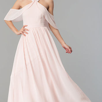 Long A-Line Blush Pink Prom Dress with Chiffon Sleeves