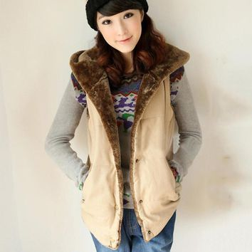 Hooded faux fur thick sleeveless vest  ~ 6 Colors available!