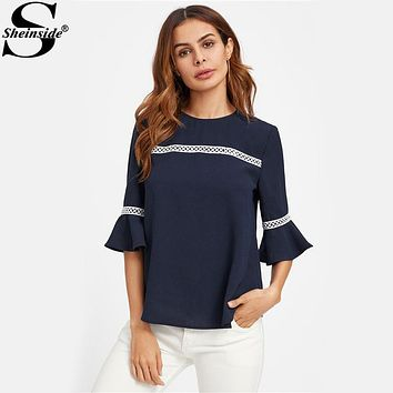 Women's Navy Fluted Sleeve Blouses