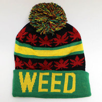 Punk Rock Stretch KUSH Marijuana Hemp Weed Leaf pom-pom Baggy Beanie Winter Hat
