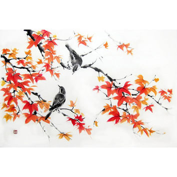 Japanese Ink Painting Suibokuga Sumi-e Asian art Japanese art Rice paper painting Orange Red- Birds on Maple branches