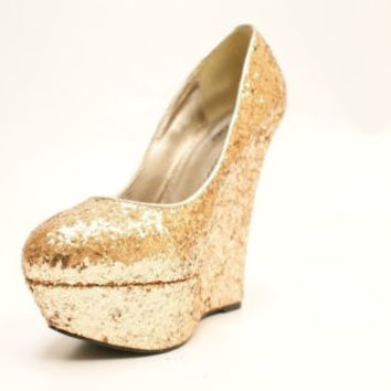 Bebe Gold Glitter Hidden Wedge Platforms Women's 8M NIB