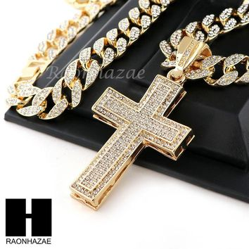 "Hip Hop 14k Gold Plated 2Pac Cross PAVE Pendant 30"" Iced Out Cuban Link Chain N2"