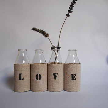 LOVE vase from 4 small recycled glass bottles by petitbonheur