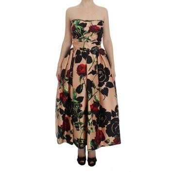 Dolce & Gabbana Pink Roses Floral Silk Pouf Ball Gown Dress