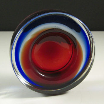 Round Art Glass Geode Bowl // Red Blue Sommerso // from Successionary