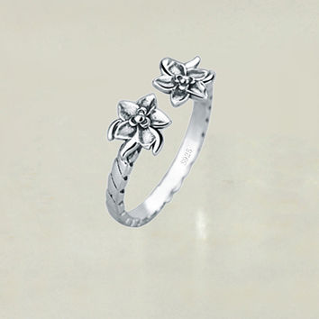 Oxidized Sterling Silver Palm Tree Ring Adjustable