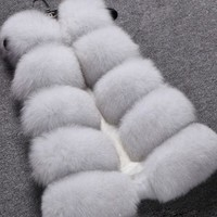 White Faux Fur Pockets Buttons Sleeveless Fashion Cardigan Vest Coat