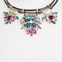 Women's Topshop Rhinestone Collar Necklace - Black Multi