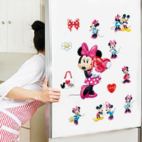 Hot sale Mickey Mouse Minnie Mouse Bathroom Decoration Cartoon Cute glass Wall Stickers Free shipping