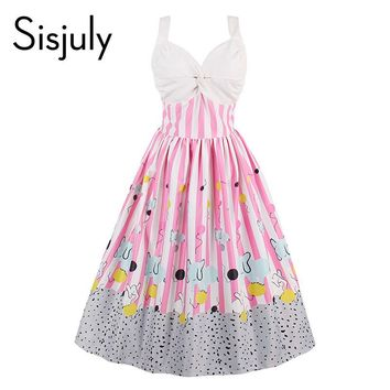 Sisjuly women vintage dress summer pink sleeveless stripe party dress 1950s cute playful style A line elegant vintage dresses