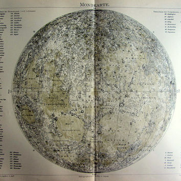 1896 Antique astronomy moon chart engraving, fine color lithograph of the Moon, original vintage map lunar craters print.