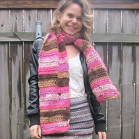Crochet Scarf - Chocolate Cupcake Brown and Pink Crochet Winter Scarf - OOAK Pink, Girly Scarf, Warm Scarf, Cute Scarf