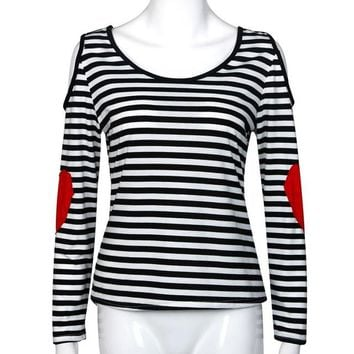 Striped Women Shirt Autumn Casual Long Sleeve Off Shoulder Shirt Patch Red Heart Kawaii Shirt Blusa Renda#A128