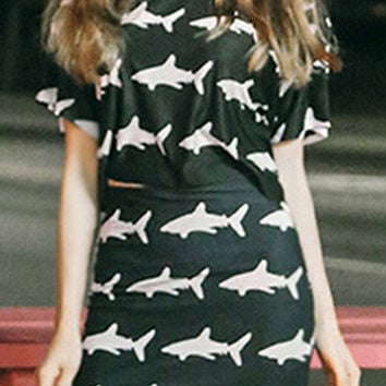 Black Shark Print Short Sleeve Cropped Top And Bodycon Mini Skirt Set