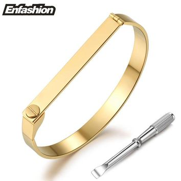 Cartier Style locking bracelet with key Gold Plated Love Bracelet