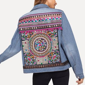 National Style Floral Embroidered Ripped Denim Jacket