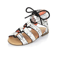 Mini girls white ghillie lace-up sandals
