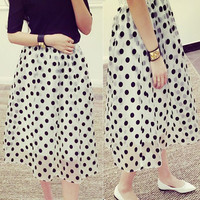 Sweet Polka Dot Print Organza Spliced Skirt For Women One Size (Fit Size XS to L) (Color: White) = 1843095684